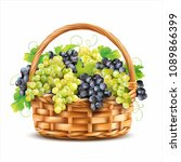 basket with ripe grapes... | Shutterstock .eps vector #1089866399
