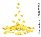 coins heap. gold coins money... | Shutterstock .eps vector #1089867356