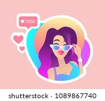 summer style girls glasses look ... | Shutterstock .eps vector #1089867740