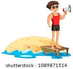 a fit lifeguard next to the...   Shutterstock .eps vector #1089871514