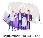 diversity group of people hugs  ... | Shutterstock .eps vector #1089873170