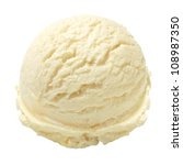 Stock photo scoop of vanilla ice cream on white background 108987350