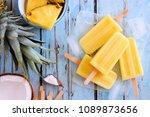 pineapple coconut popsicles in...   Shutterstock . vector #1089873656