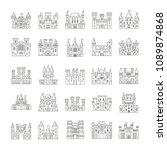 outline medieval castles set... | Shutterstock .eps vector #1089874868