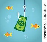 bill dollar on fishing hook and ... | Shutterstock .eps vector #1089881354