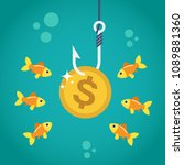 coin dollar on fishing hook and ... | Shutterstock .eps vector #1089881360