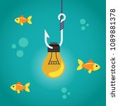 light bulb on fishing hook and...   Shutterstock .eps vector #1089881378