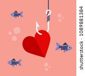 red heart on fishing hook and...   Shutterstock .eps vector #1089881384