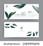 gift voucher greenery tropical... | Shutterstock .eps vector #1089890696