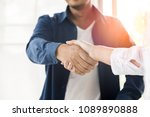 businessman shaking hand... | Shutterstock . vector #1089890888