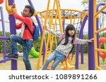 two kids boy and girl having...   Shutterstock . vector #1089891266