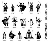ancient norse mythology gods... | Shutterstock . vector #1089892406