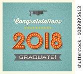 2018 graduation card or banner... | Shutterstock .eps vector #1089895613