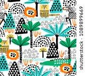 safari animals seamless pattern ... | Shutterstock .eps vector #1089899669