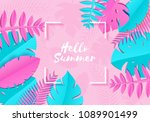 summer tropical palm leaves ... | Shutterstock .eps vector #1089901499