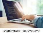 close up woman hands coding... | Shutterstock . vector #1089903890