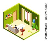 vector isometric man sitting at ... | Shutterstock .eps vector #1089914300