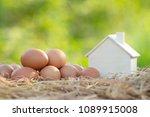 chicken eggs and wooden house... | Shutterstock . vector #1089915008
