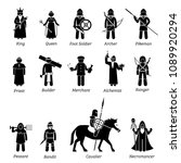 ancient medieval characters... | Shutterstock . vector #1089920294