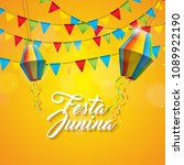 festa junina illustration with... | Shutterstock .eps vector #1089922190