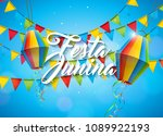 festa junina illustration with... | Shutterstock .eps vector #1089922193