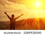 thank god he raised his arms to ... | Shutterstock . vector #1089928340