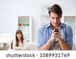 couple cheating on each other... | Shutterstock . vector #1089931769