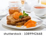 french toast with jam and... | Shutterstock . vector #1089942668