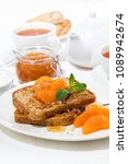 french toast with jam and... | Shutterstock . vector #1089942674