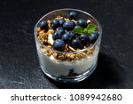 dessert with fresh blueberries  ... | Shutterstock . vector #1089942680