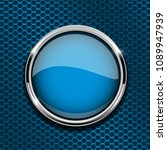 blue round button with metal... | Shutterstock . vector #1089947939