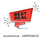 red flat line banner best deal | Shutterstock .eps vector #1089958010