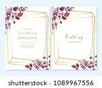 set of card with flower rose ... | Shutterstock .eps vector #1089967556