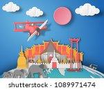 paper art bankok  thailand... | Shutterstock .eps vector #1089971474
