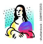 illustration of the mona lisa.... | Shutterstock . vector #1089972053