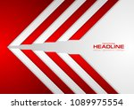 red and grey abstract corporate ... | Shutterstock .eps vector #1089975554