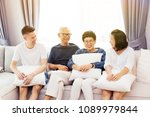 asian family with adult... | Shutterstock . vector #1089979844