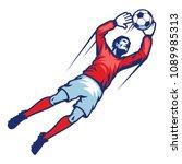 goalkeeper catch ball | Shutterstock .eps vector #1089985313