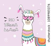 cute cartoon llama with an... | Shutterstock .eps vector #1089985376
