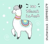 cute cartoon llama with an... | Shutterstock .eps vector #1089985379