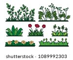 wild grass thickets with... | Shutterstock .eps vector #1089992303