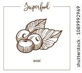 delicious healthy ecotic acai... | Shutterstock .eps vector #1089992969