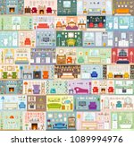 a big set of vector interiors. ... | Shutterstock .eps vector #1089994976