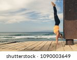 woman meditating in yoga pose ...   Shutterstock . vector #1090003649