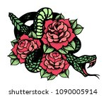 tattoo with rose and snake....   Shutterstock .eps vector #1090005914