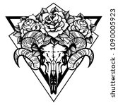 rose tattoo with skull of a... | Shutterstock .eps vector #1090005923