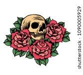 rose tattoo with skull.... | Shutterstock .eps vector #1090005929
