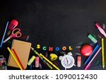 flat lay with lettering back to ... | Shutterstock . vector #1090012430