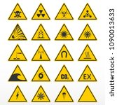 set of warning signs. yellow... | Shutterstock .eps vector #1090013633