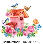 Stock photo birdhouse birds and flowers watercolor illustration for decoration of cards embroidery 1090014713